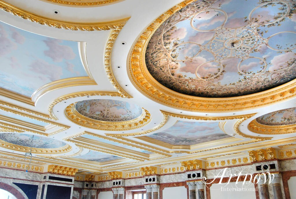 Grand Ceilings in Private Residence painted with marouflage technique